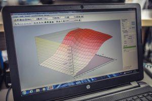 Computer zeigt Beispiel für Kennfeldoptimierung in Landau